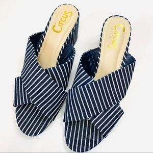 Sam Edelman Blue White Striped Block Heel Mules